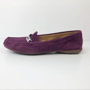 Coach Olympia Suede Plum Purple Loafer Flats Sz 8